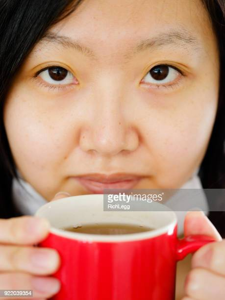Closeup of Japanese Woman Drinking Tea