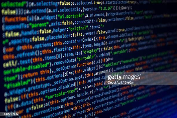 close-up of javascript on computer monitor - coding stock pictures, royalty-free photos & images