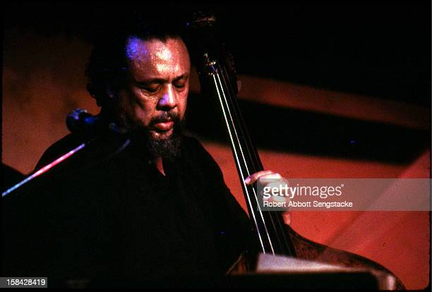 Close-up of jazz great Charles Mingus performing at an unidentified New York city venue, 1976.