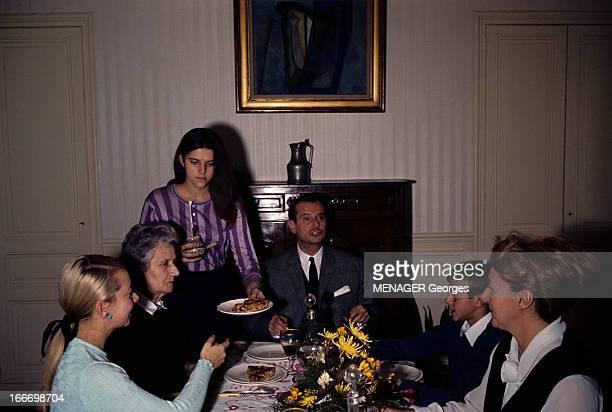 CloseUp Of Jean Lecanuet En novembre 1965 à l'occasion de sa candidature à l'élection présidentielle dans une salle à manger lors d'un repas le...