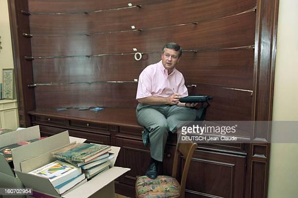 Close-up Of Jean-marie Messier. A Paris, en septembre 2000, portrait de Jean-Marie MESSIER, pdg de Vivendi Universal, chez lui, dans le bureau de son...