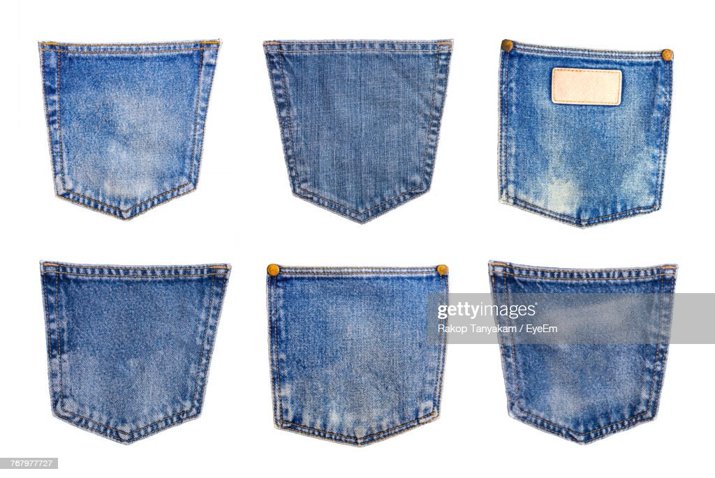 Close-Up Of Jeans Pockets On White Background : Stock Photo