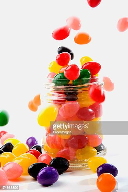 Close-up of jellybeans poured into a jar