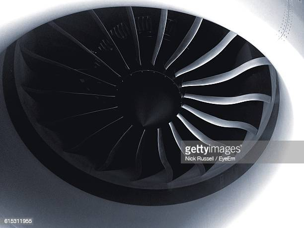 close-up of jet engine turbine - jet engine stock photos and pictures
