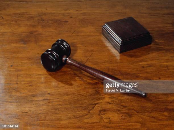 Close-up of judge gavel
