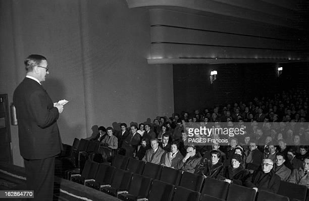 CloseUp Of Julien Duvivier Paris 3 mars 1955 A l'occasion de la sortie de son film 'Marianne de ma jeunesse' dans le cinéma 'Le Bellevue' du 20ème...
