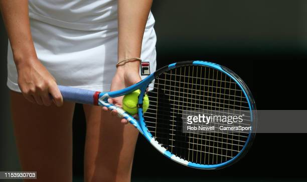 A closeup of Karolina Pliskova during her match against SuWei Hsieh in their Ladies' Singles Third Round match during Day 5 of The Championships...