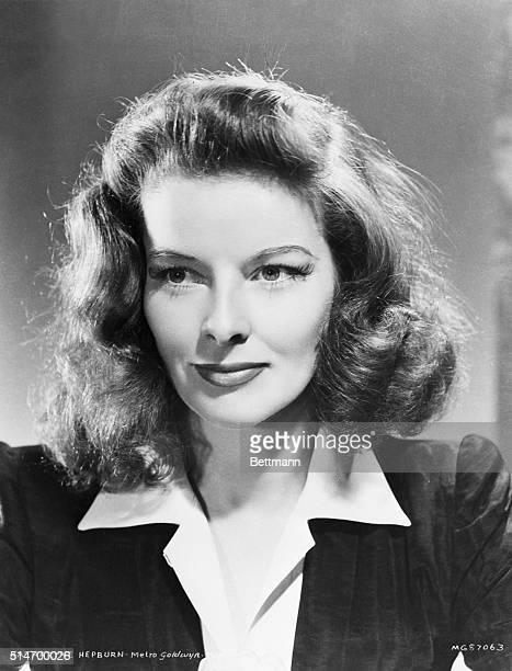 Closeup of Katharine Hepburn.