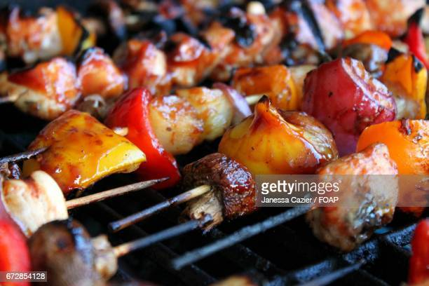 close-up of kebab on the grill - janessa stock pictures, royalty-free photos & images