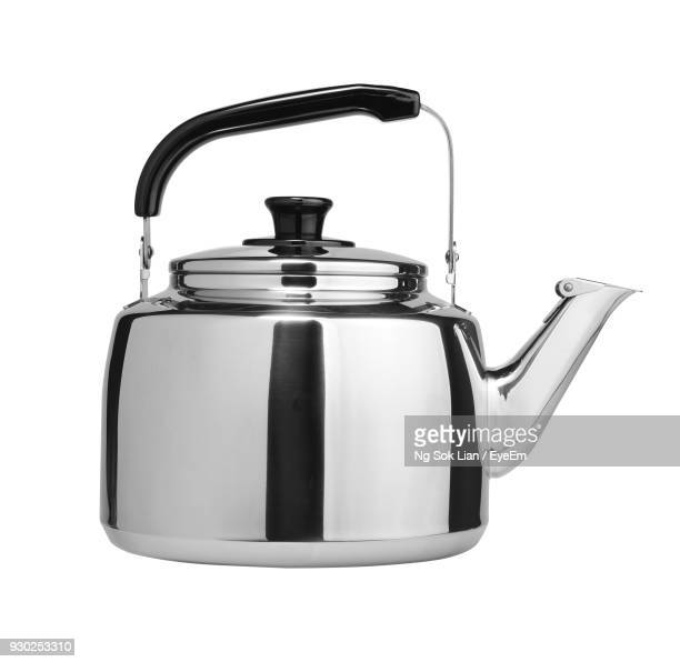 close-up of kettle against white background - やかん ストックフォトと画像