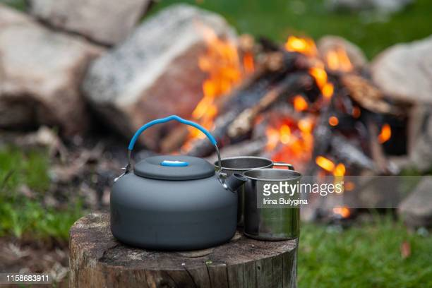 close-up of kettle and two mugs of hot tea on tree stump at campsite - 道具類 ストックフォトと画像