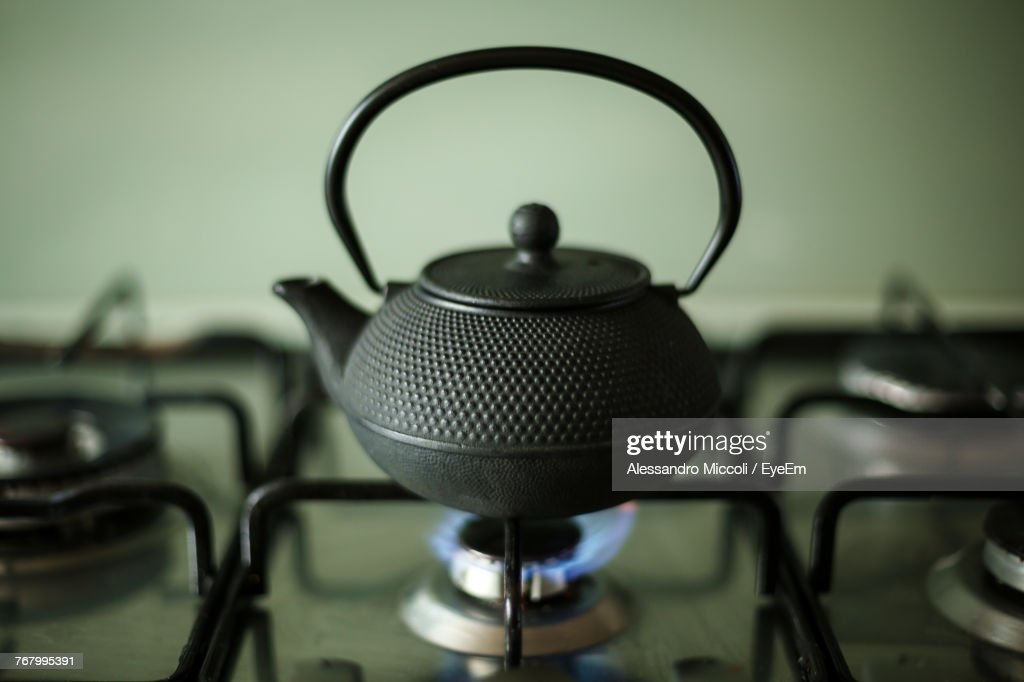 Close-Up Of Kettle On Stove : Stock Photo