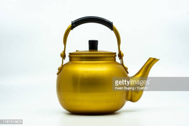 close-up of kettle on white background - やかん ストックフォトと画像