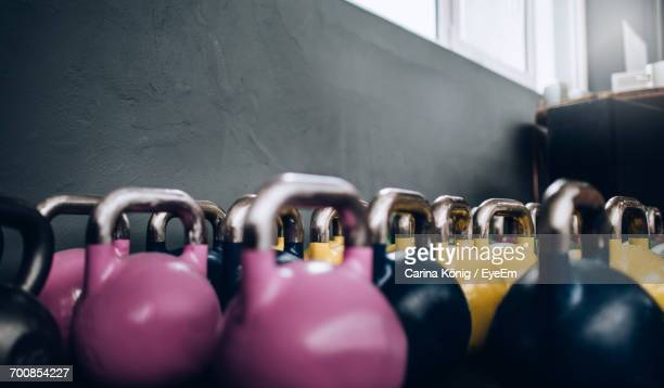 Close-Up Of Kettlebells At Gym