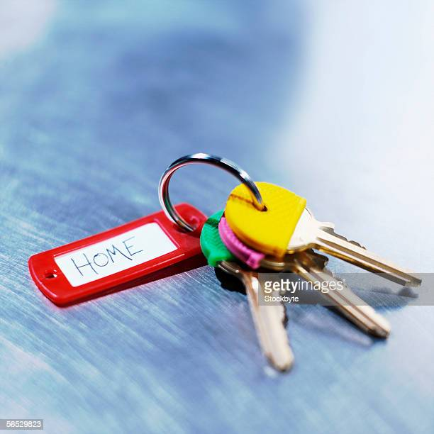 close-up of keys in a key ring