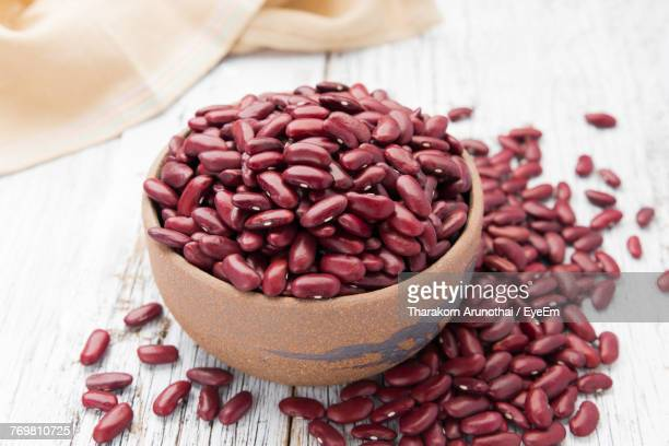 Close-Up Of Kidney Beans In Bowl On Table