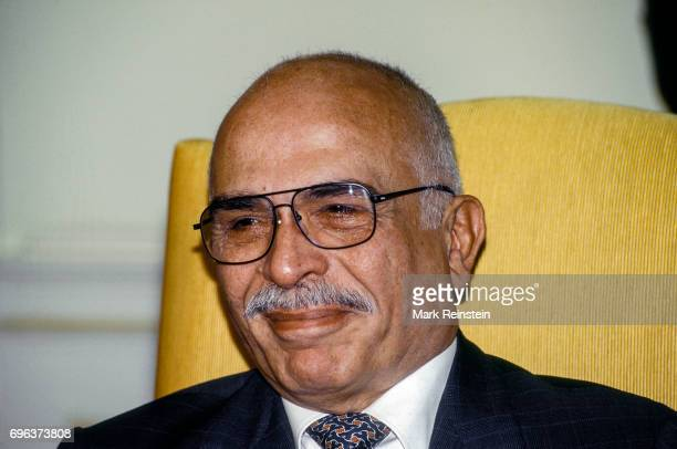 Closeup of King Hussein of Jordan in the White House's Oval Office during an official State visit Washington DC September 28 1995