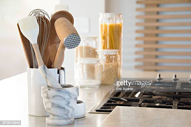 close-up of kitchen utensils on worktop - kitchen utensil stock pictures, royalty-free photos & images