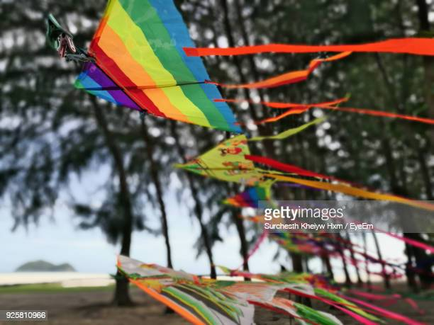 Close-Up Of Kites Hanging On String Against Sky