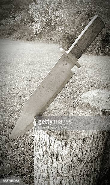 Close-Up Of Knife On Tree Stump In Back Yard