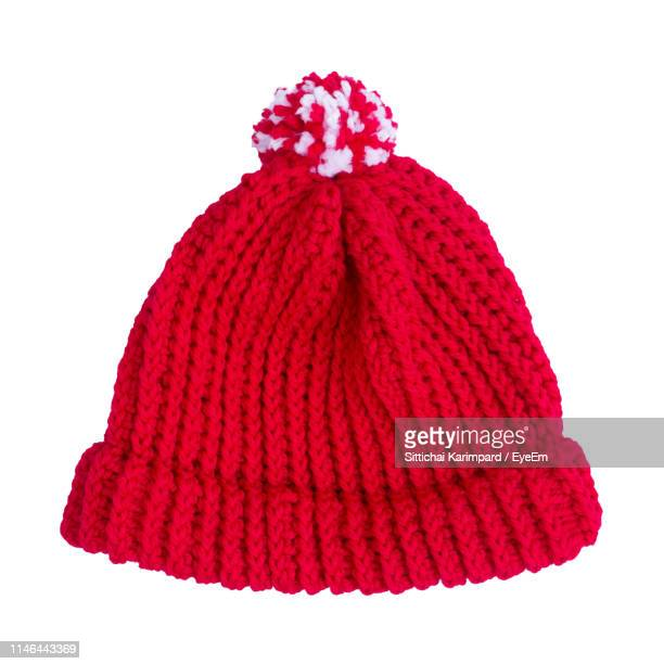 close-up of knit hat against white background - knit hat stock pictures, royalty-free photos & images