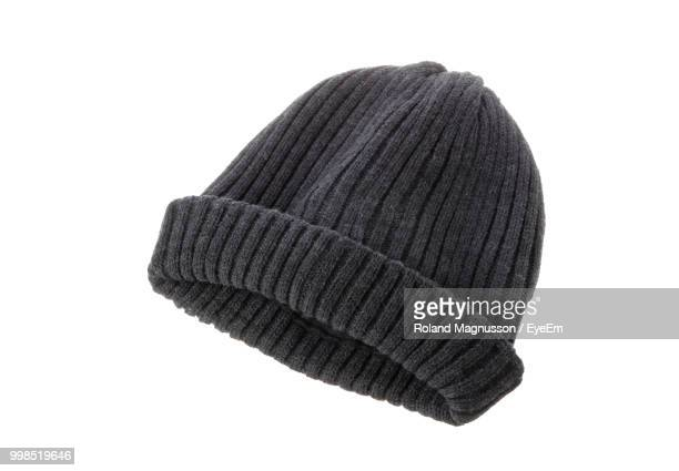 Close-Up Of Knit Hat Over White Background