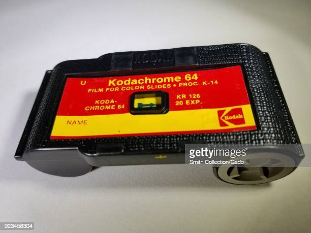 Closeup of Kodak 126 film cartridge containing Kodachrome 64 film a classic color reversal slide film used in 1960s and 1970s era Instamatic cameras...
