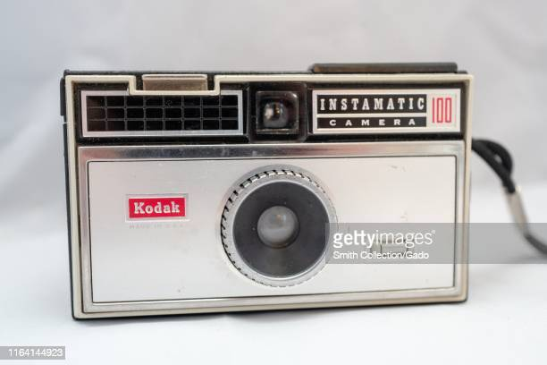 Closeup of Kodak Instamatic 100 film camera ca 1965 using the 126 format isolated on a white background July 24 2019