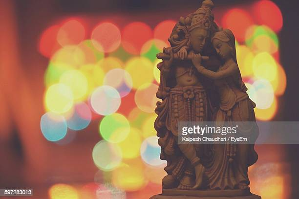close-up of krishna and radha sculpture - lord krishna stock photos and pictures