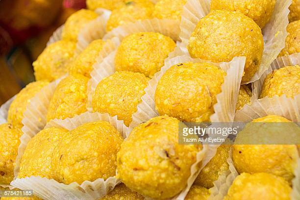 Close-Up Of Laddoos For Sale