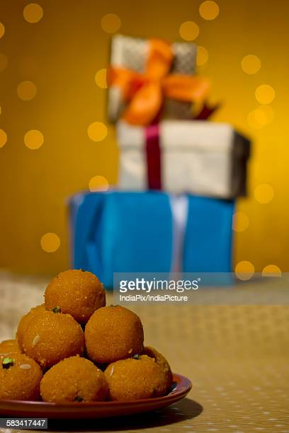 close-up of laddus - mithai stock pictures, royalty-free photos & images