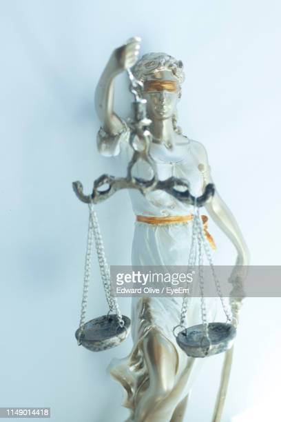 Close-Up Of Lady Justice Against Wall
