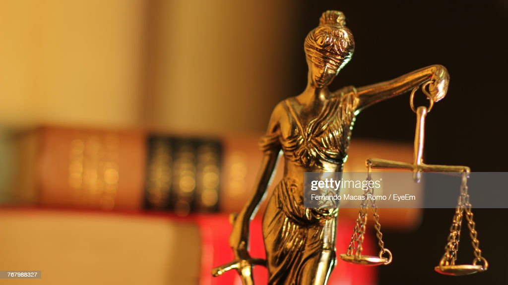 Close-Up Of Lady Justice Statue : Stock Photo