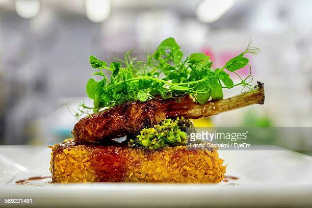 Close-Up Of Lamb Chop Served In Plate