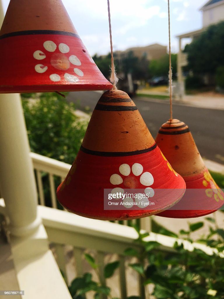 Close Up Of Lanterns Hanging At Porch