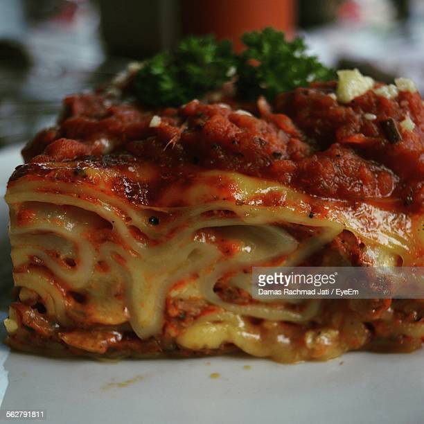 Close-Up Of Lasagna On Plate