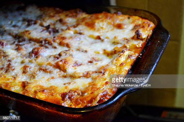 Close-Up Of Lasagna With Cheese