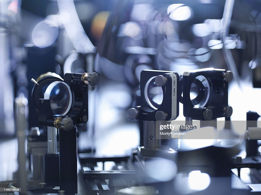 Close-up of laser mirrors in scientific laboratory : Stock Photo