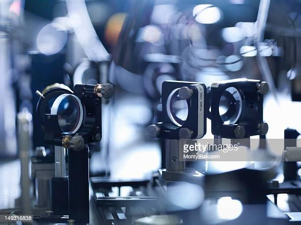Close-up of laser mirrors in scientific laboratory