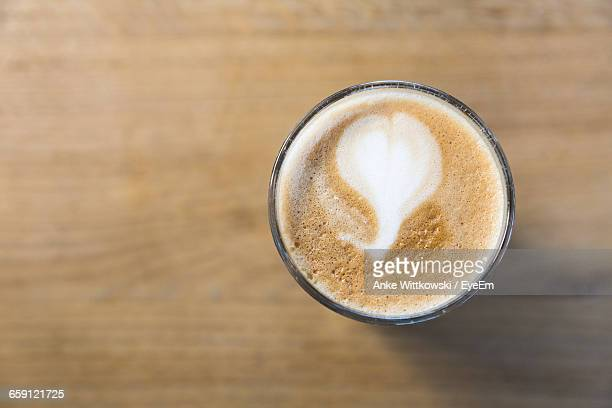 Close-Up Of Latte In Glass