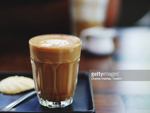 Close-Up Of Latte On Table