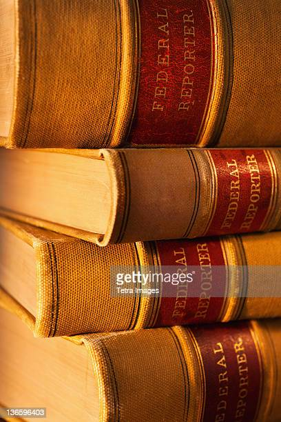 Close-up of lawyer books