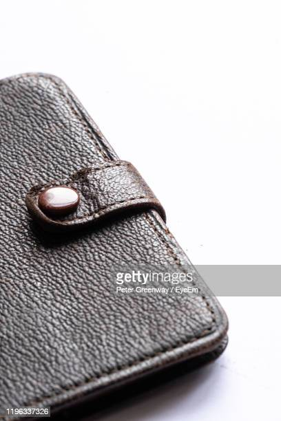 close-up of leather diary against white background - bicester village stock pictures, royalty-free photos & images