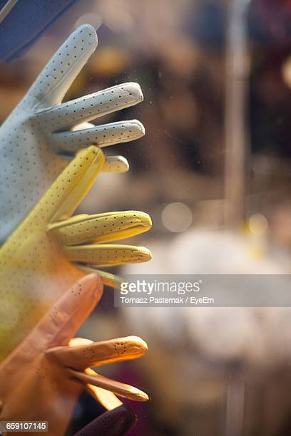 Close-Up Of Leather Gloves In Shop