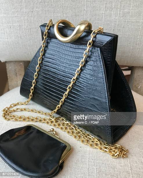 Close-up of leather hand bag and purse
