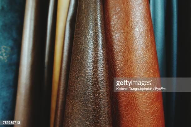 close-up of leather jackets - leather stock photos and pictures