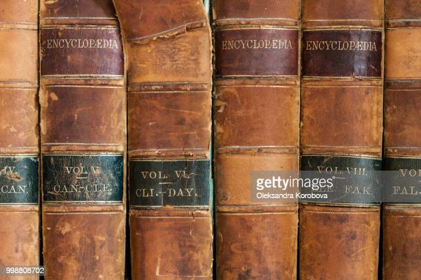 close-up of leather-bound vintage encyclopaedias with gold lettering. - enzyklopädie stock-fotos und bilder