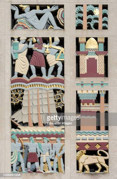 Close-up of Lee Lawries Art Deco stone screen mosaic at International Building of Rockefeller Center in New York, USA.
