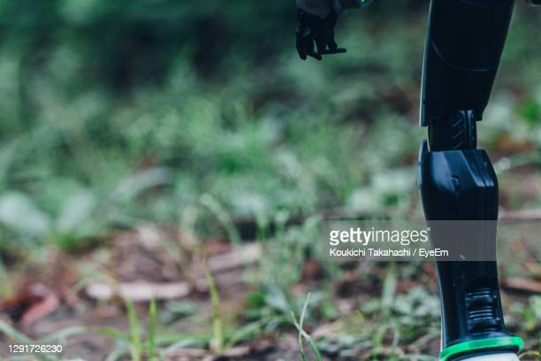 close-up of legs of robot standing on field - futuristic sustainability / coexist tech and nature - koukichi stock pictures, royalty-free photos & images