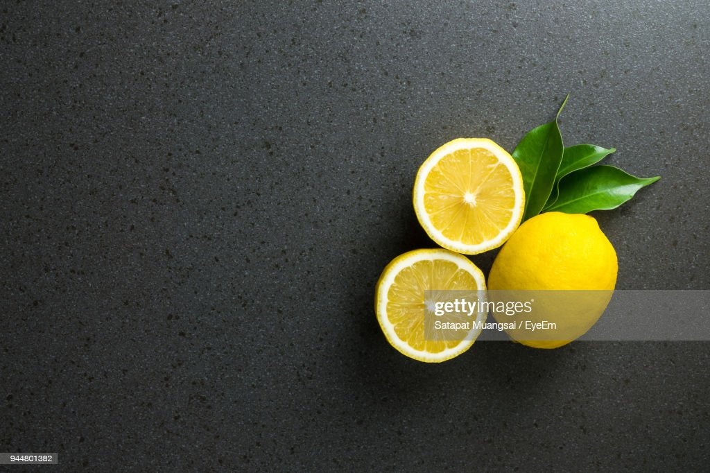 Close-Up Of Lemon On Table : Stock Photo